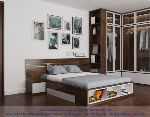 Mẫu giường ngủ đẹp hiện đại GD6810 - Tông màu đen óc chó kết hợp trắng sang trọng.