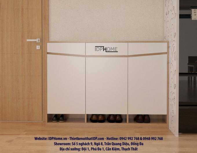 Tủ giày gỗ công nghiệp màu vân gỗ sáng 388 kết hợp cánh trắng