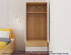 Tủ quần áo nhỏ gọn kết hợp ngăn kéo.