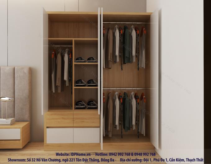 Tủ quần áo 4 buồng tiện dụng đa năng