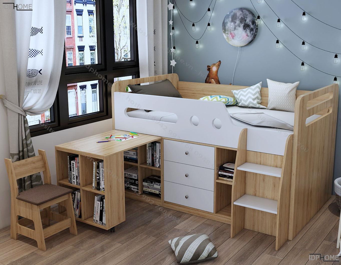 Giường tầng đa năng tích hợp tủ đồ GT6812