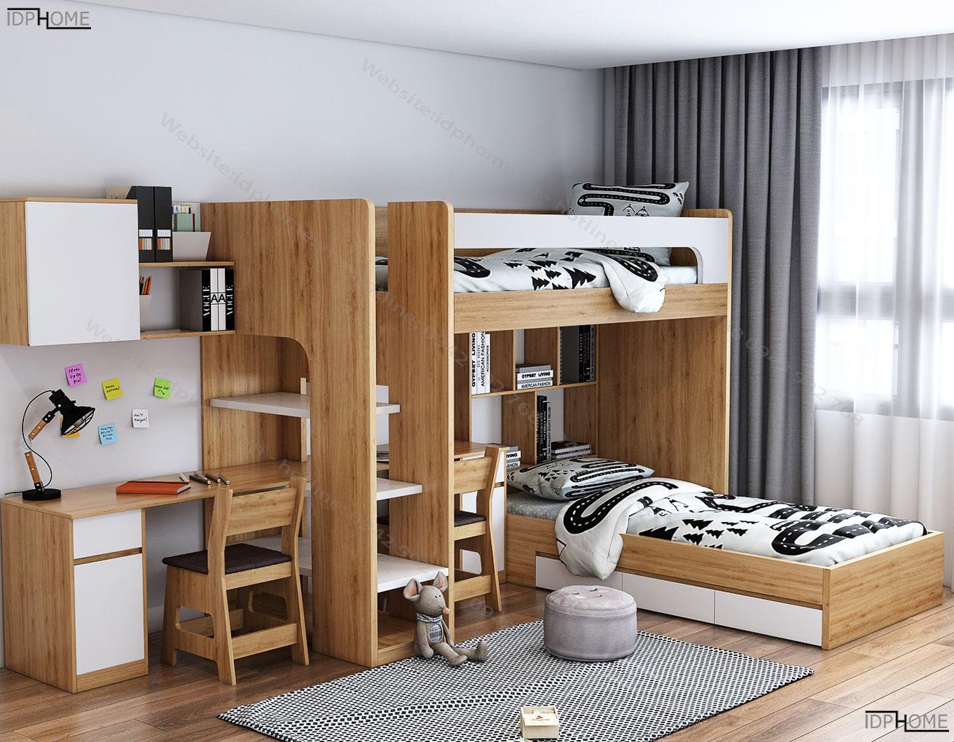 Giường tầng kèm bàn học cho bé GT6815
