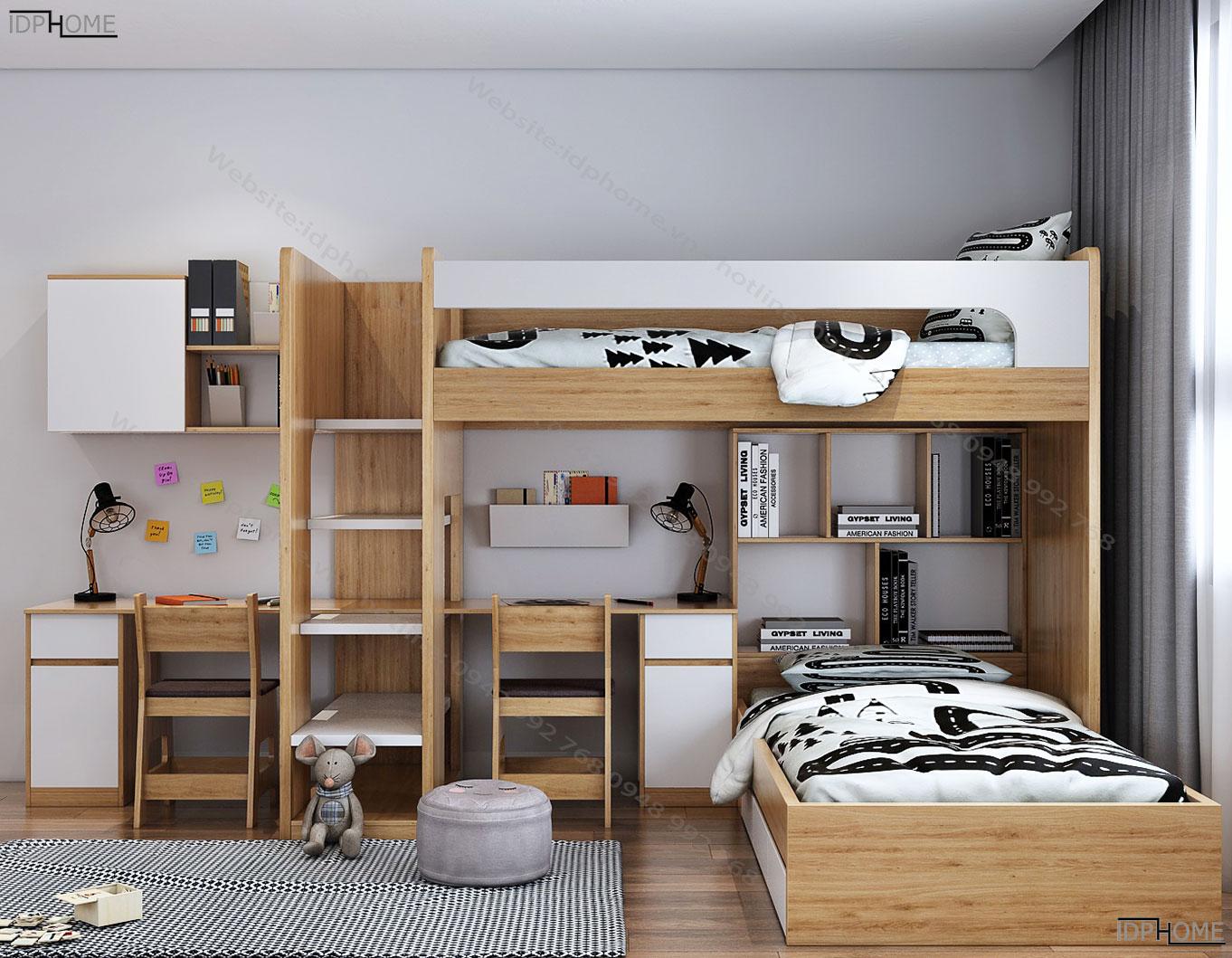 Giường tầng kèm bàn học sinh tiện dụng GT6815