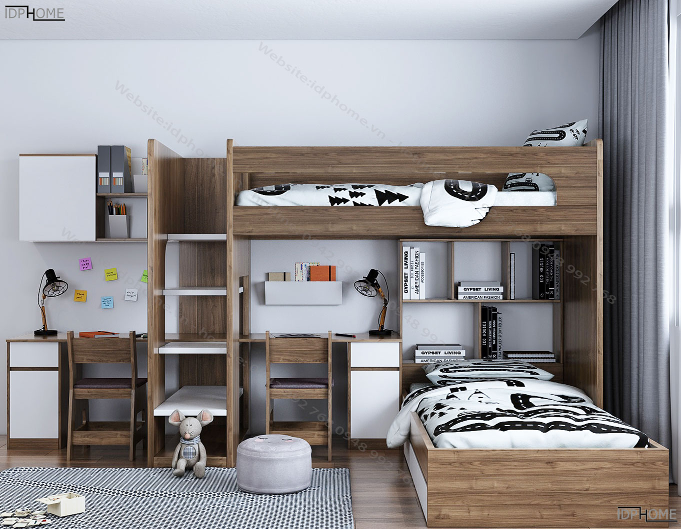 Giường tầng kết hợp bàn học đôi GT6815