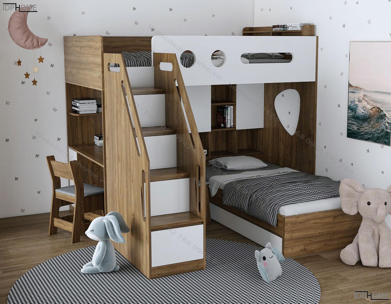 Giường tầng kết hợp bàn học trẻ em GT6818