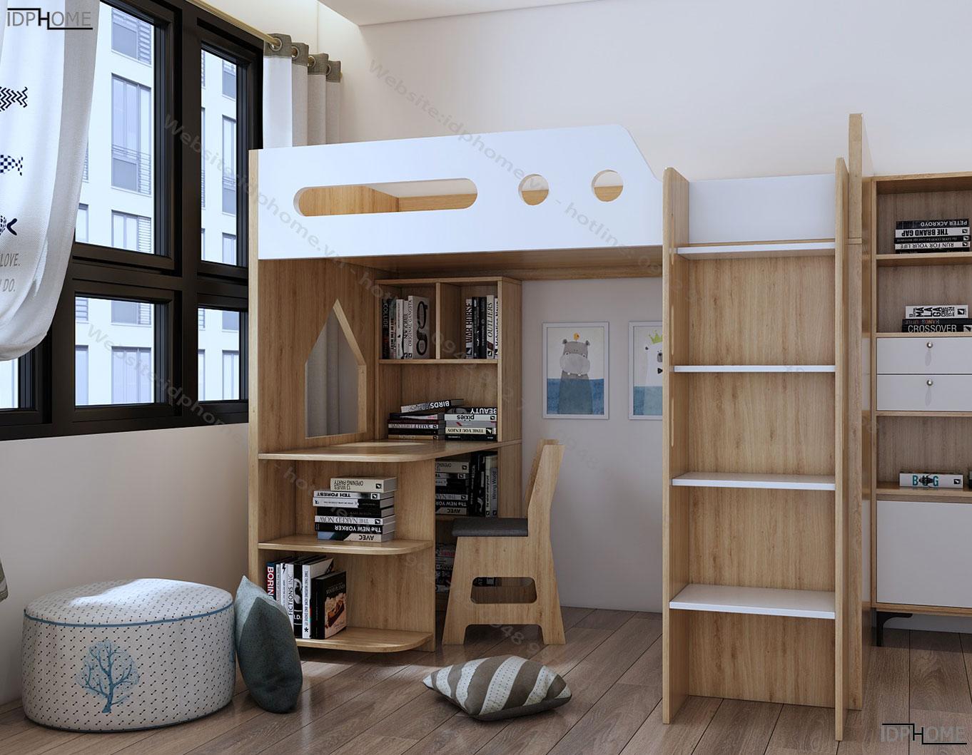 Giường tầng kết hợp bàn học tủ áo tiết kiệm diện tích GT6805