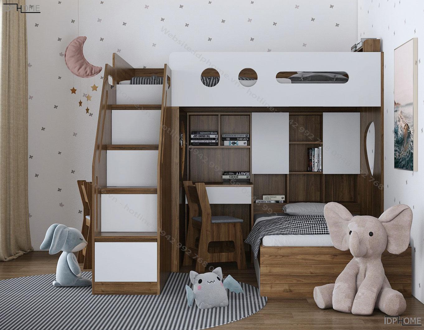 Giường tầng trẻ em tích hợp bàn học cho 2 bé GT6818