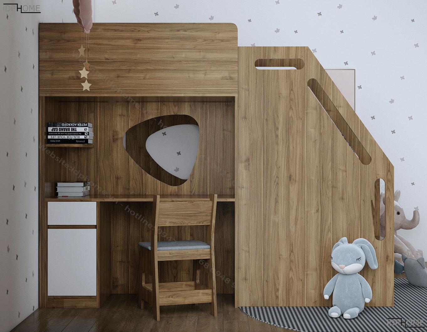 Giường tầng trẻ em tích hợp bàn học cho phòng nhỏ GT6818
