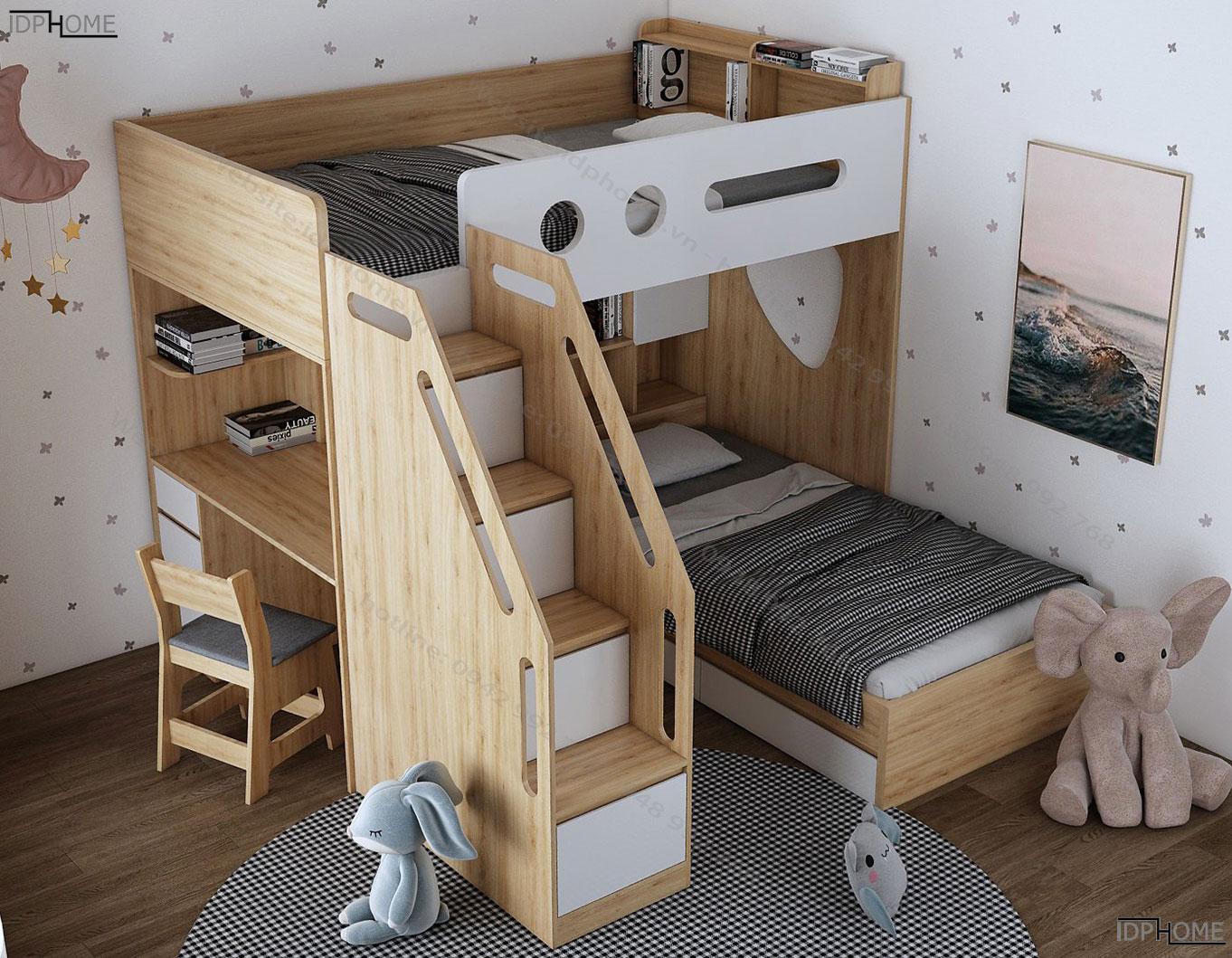 Giường tầng trẻ em tích hợp bàn học đôi GT6818