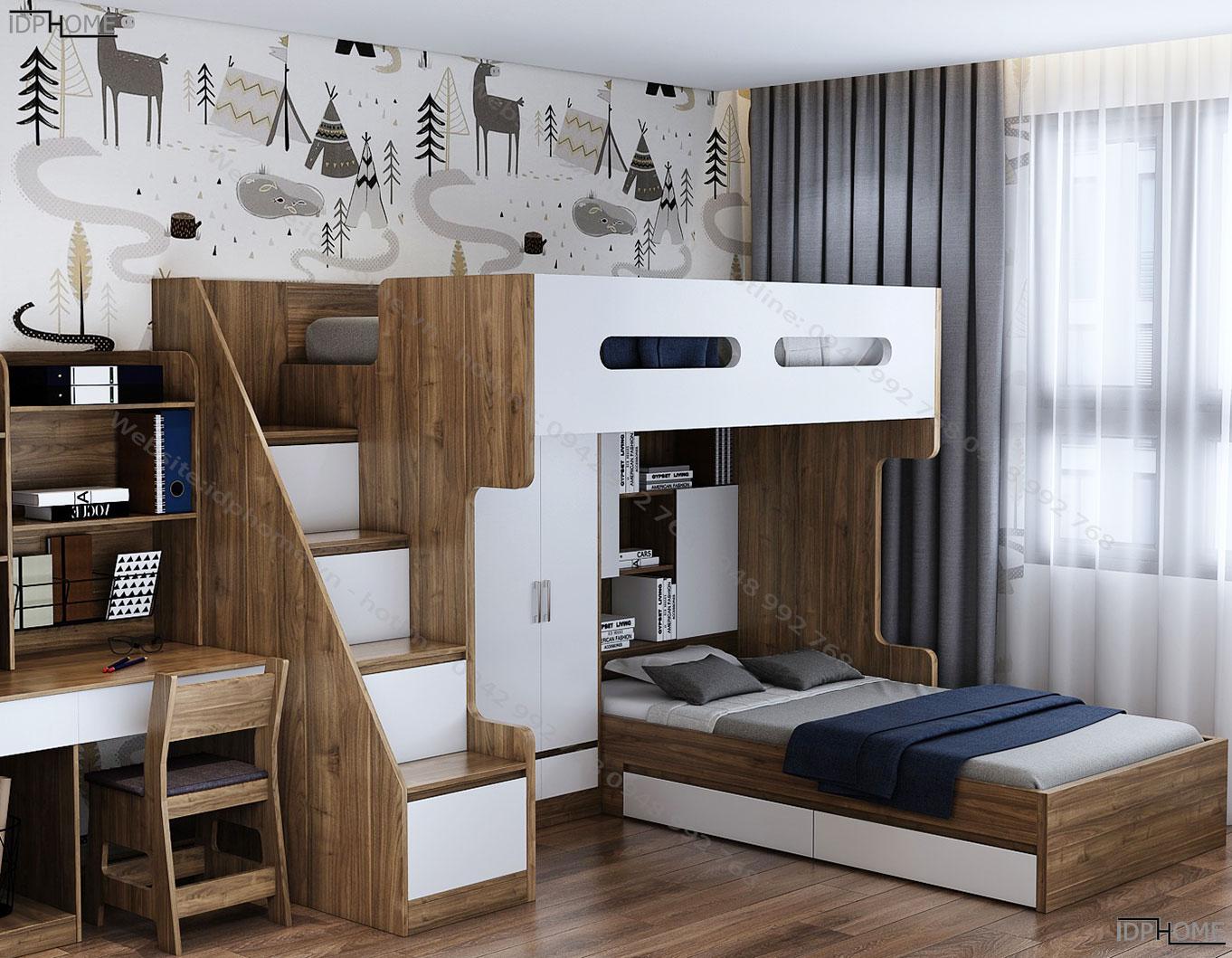 Mẫu giường tầng đẹp có cầu thang hộp GT6804