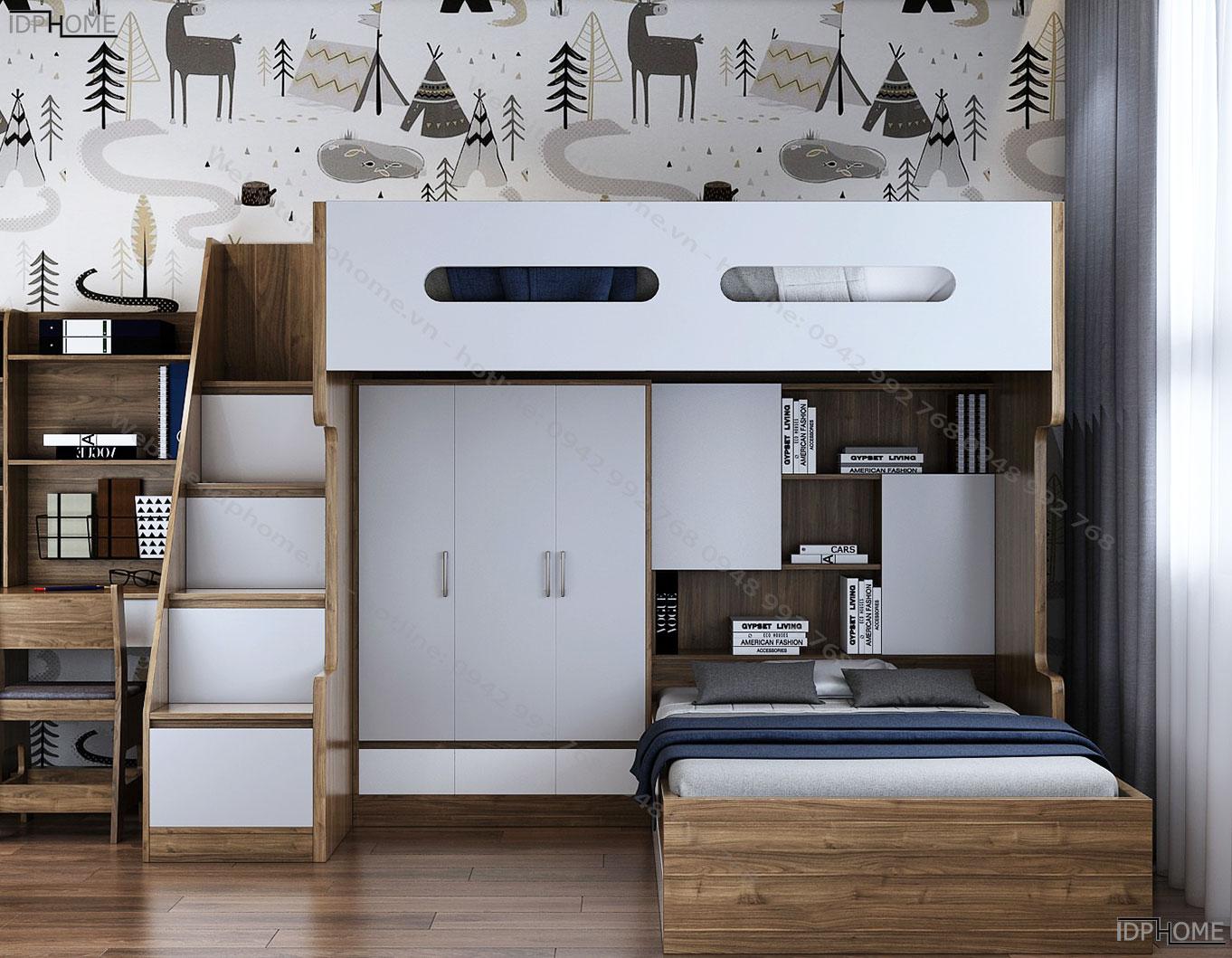 Mẫu giường tầng đẹp kết hợp tủ áo GT6804