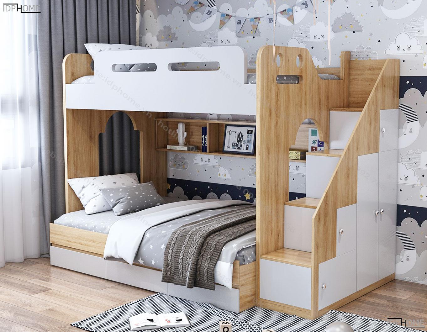 Mẫu giường tầng trẻ em đẹp có giá sách GT6814