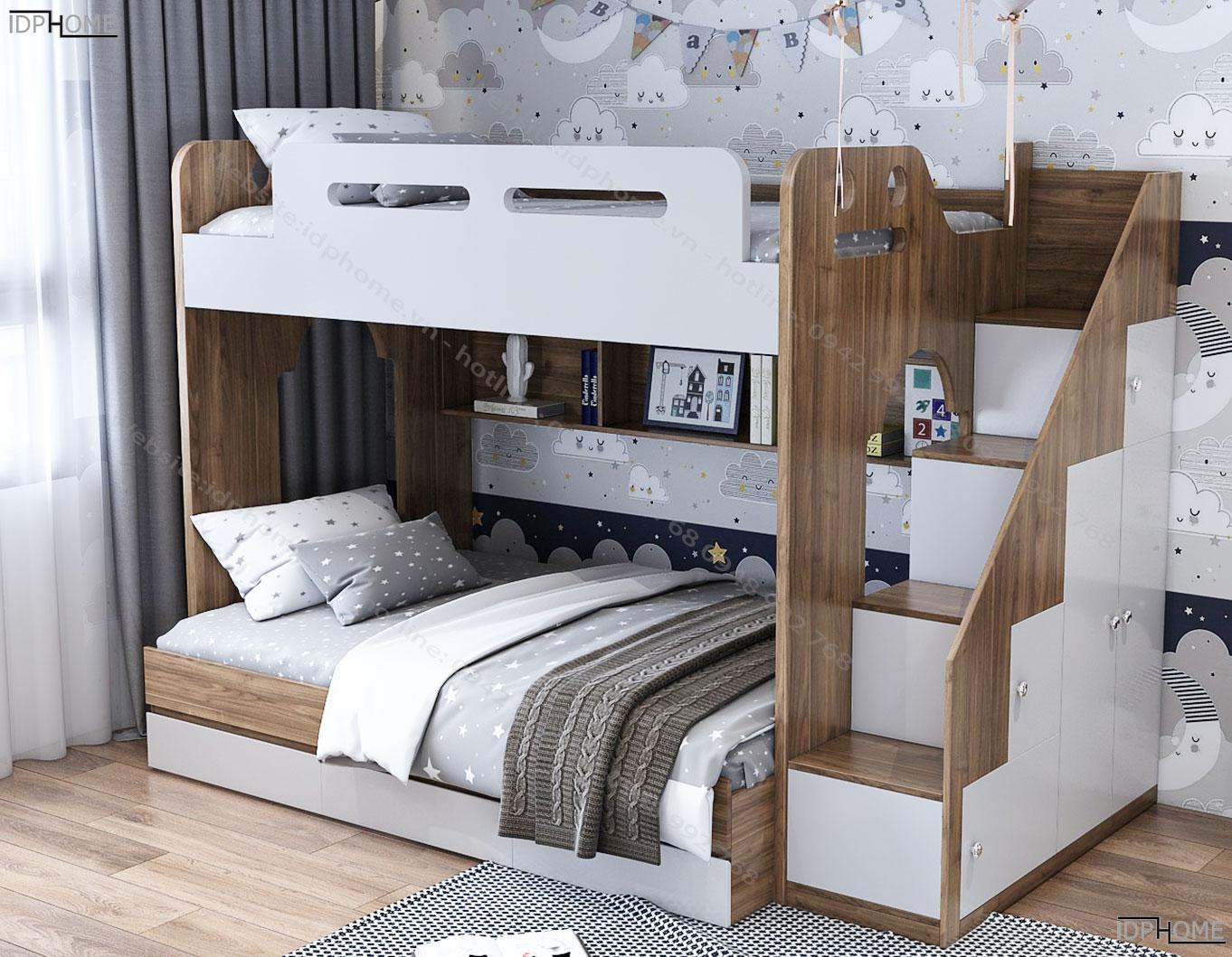 Mẫu giường tầng trẻ em đẹp tích hợp tủ đồ bên hông GT6814