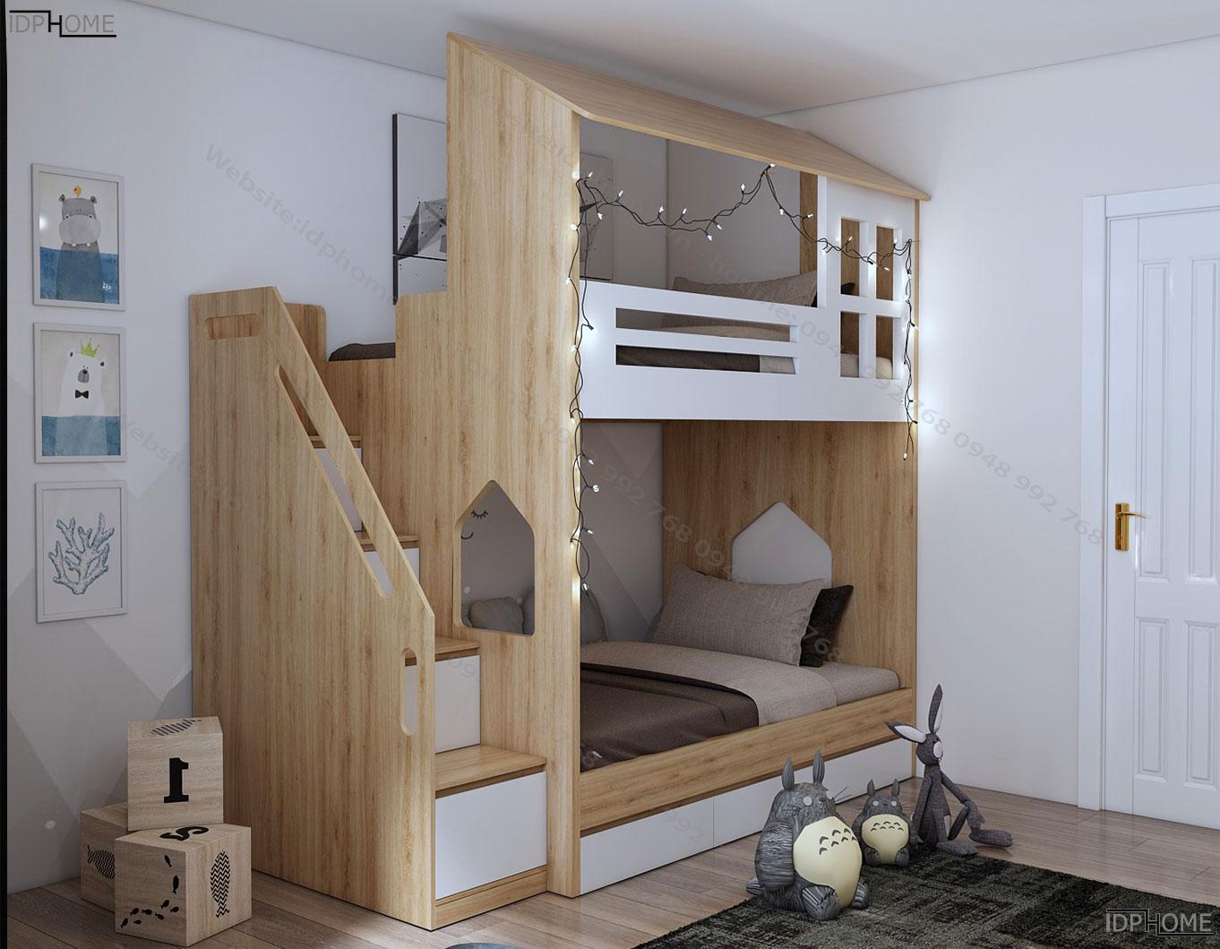 Mẫu giường tầng cho bé đẹp GT6802