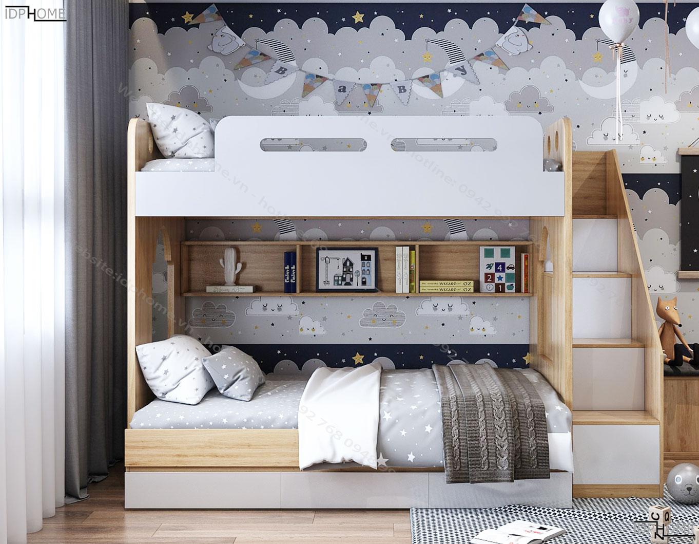 Mẫu giường tầng trẻ em giá rẻ GT6814