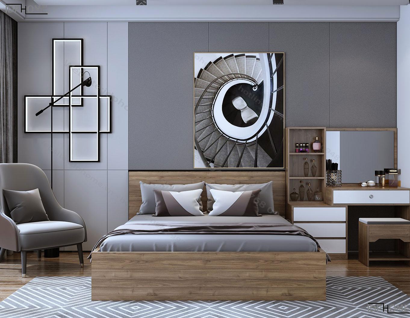 Mẫu giường đôi giá rẻ GD6809