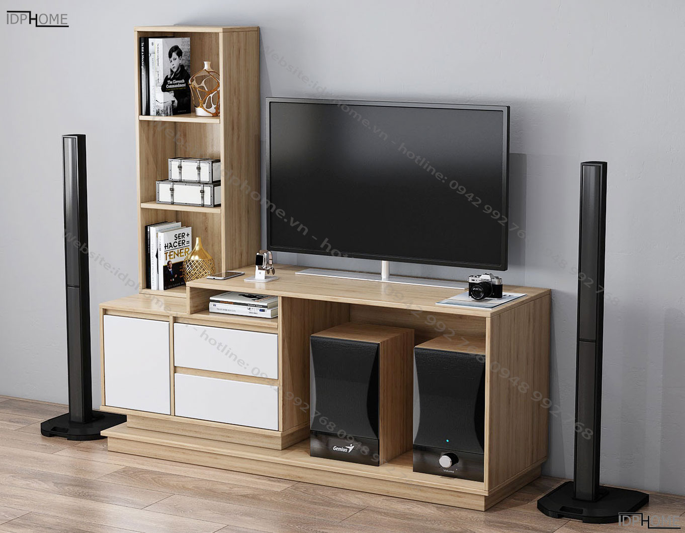 Kệ tivi nhỏ kết hợp giá trang trí KT6802
