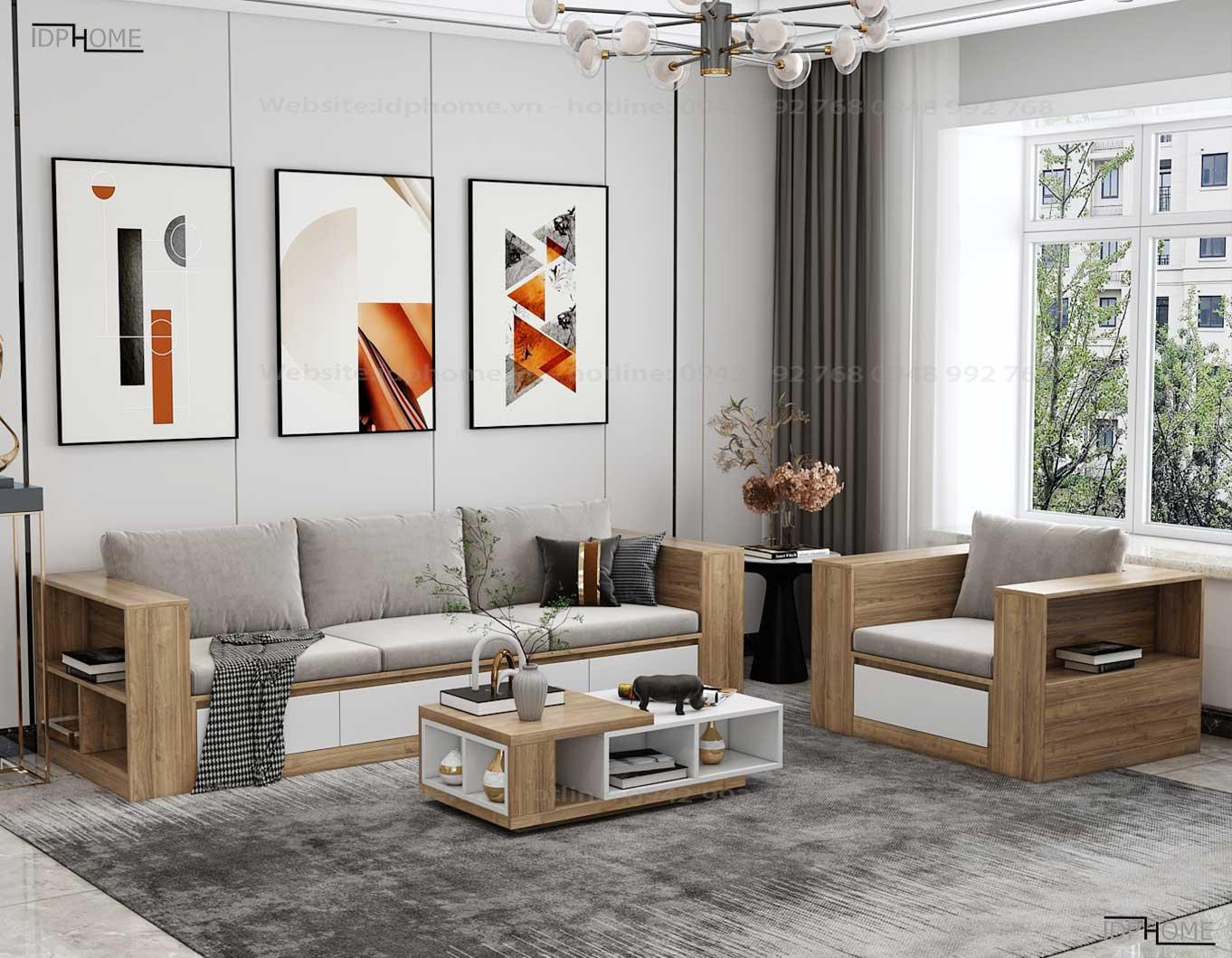 Mẫu ghế sofa gỗ công nghiệp đẹp SB6802