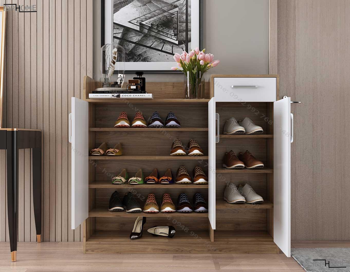 Mẫu tủ giày hiện đại đẹp TG6810
