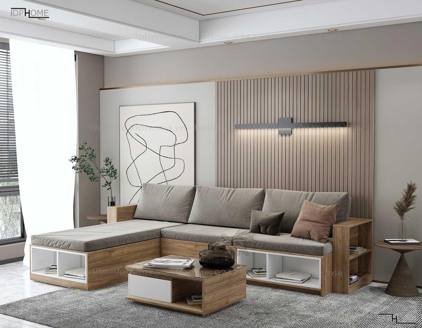 Sofa gỗ công nghiệp góc chữ L đẹp SB6801