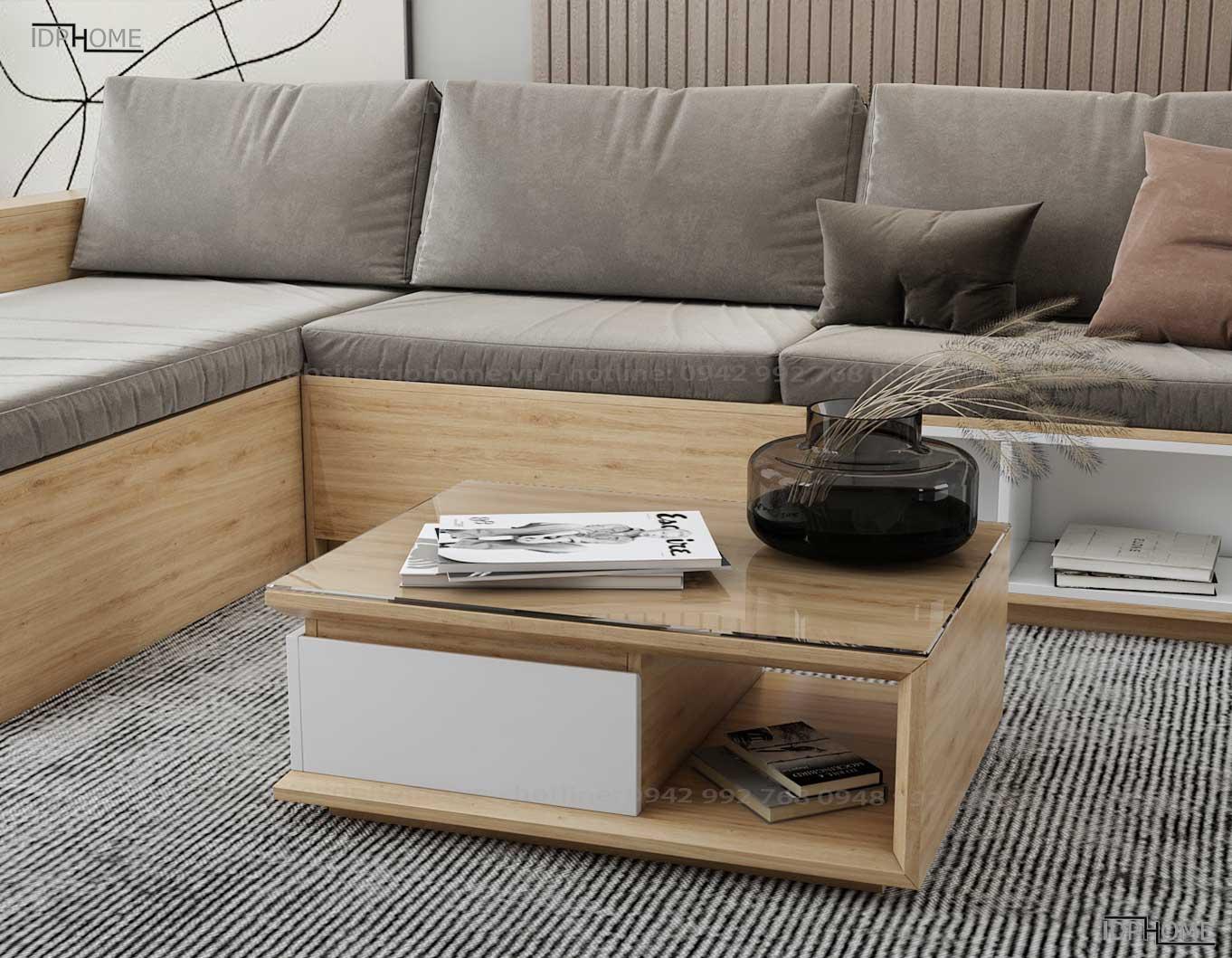 Sofa gỗ công nghiệp phòng khách đẹp SB6801
