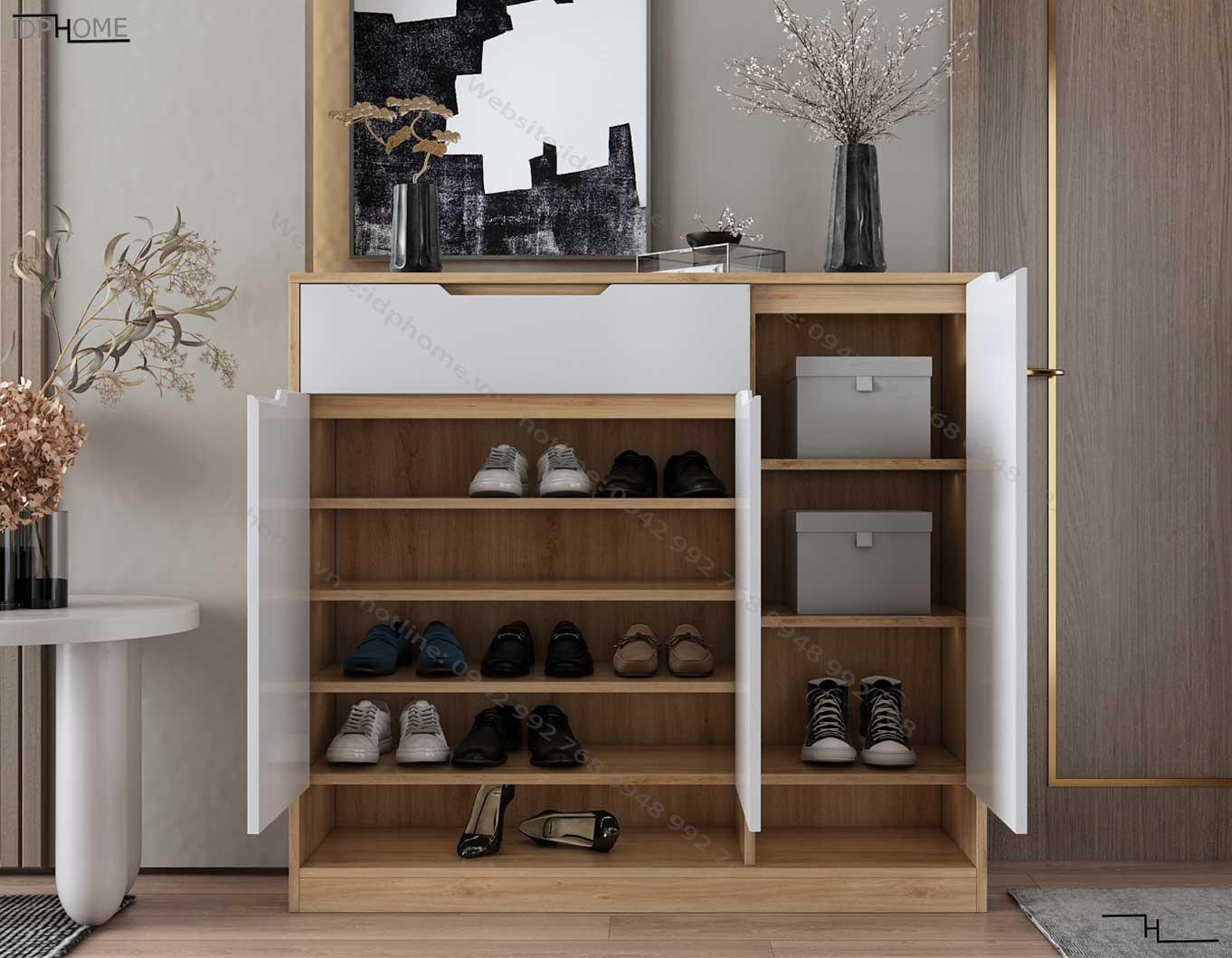 Tủ giày gỗ công nghiệp đẹp TG6808