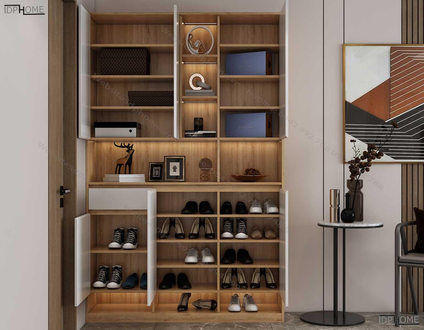 Tủ giày gỗ công nghiệp sát trần TG6814
