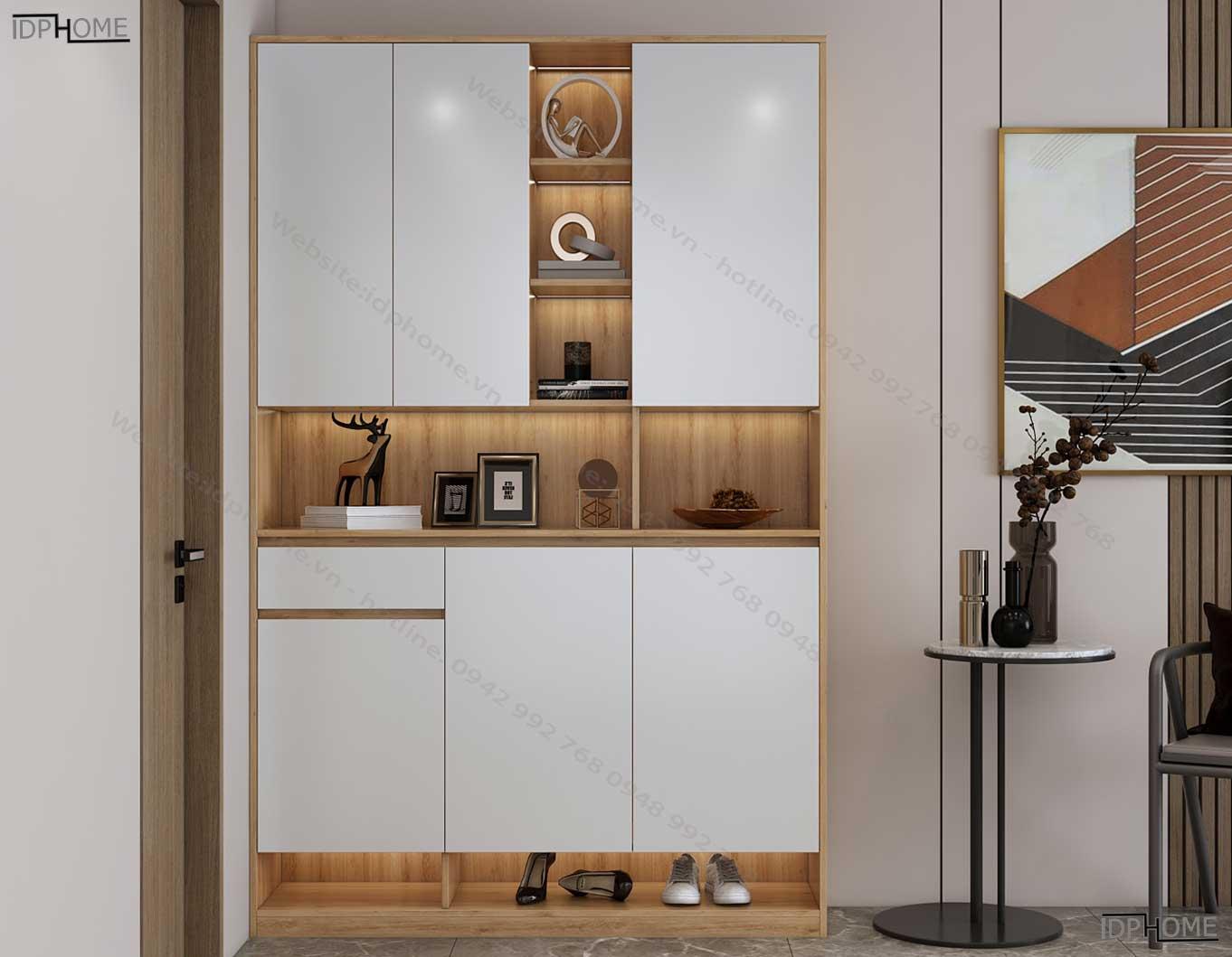 Tủ giày sát trần có hộc trang trí đẹp TG6814