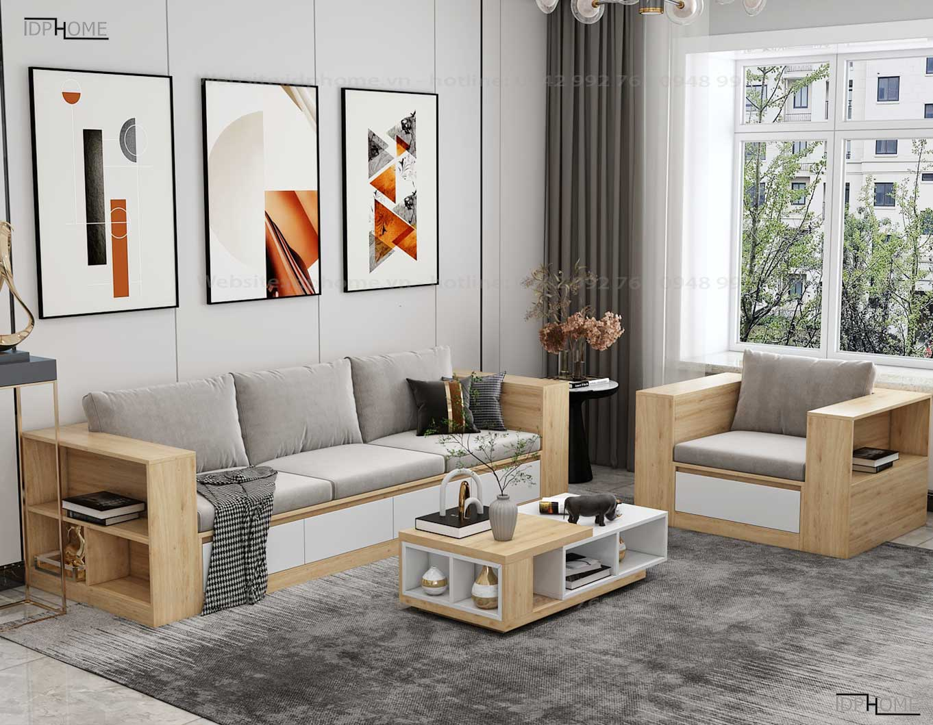 Ghế sofa gỗ công nghiệp phòng khách SB6802