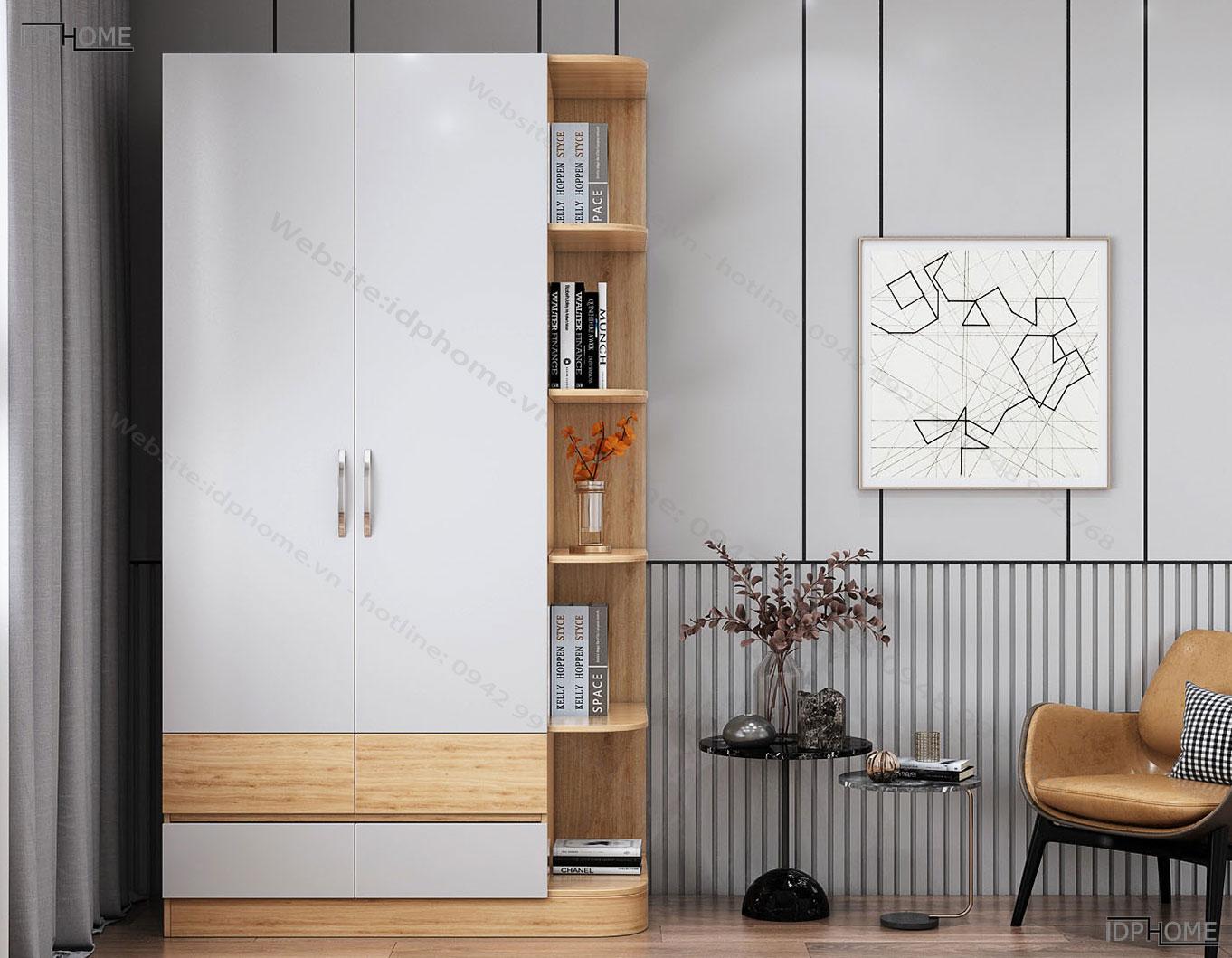 Tủ quần áo đẹp có giá trang trí TA6803