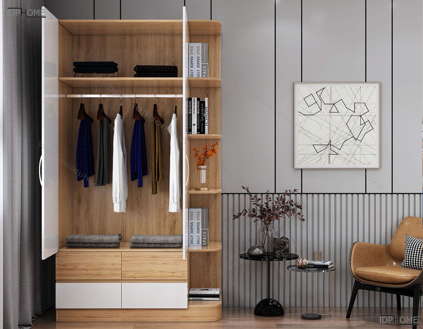 Tủ quần áo hiện đại có giá trang trí TA6803