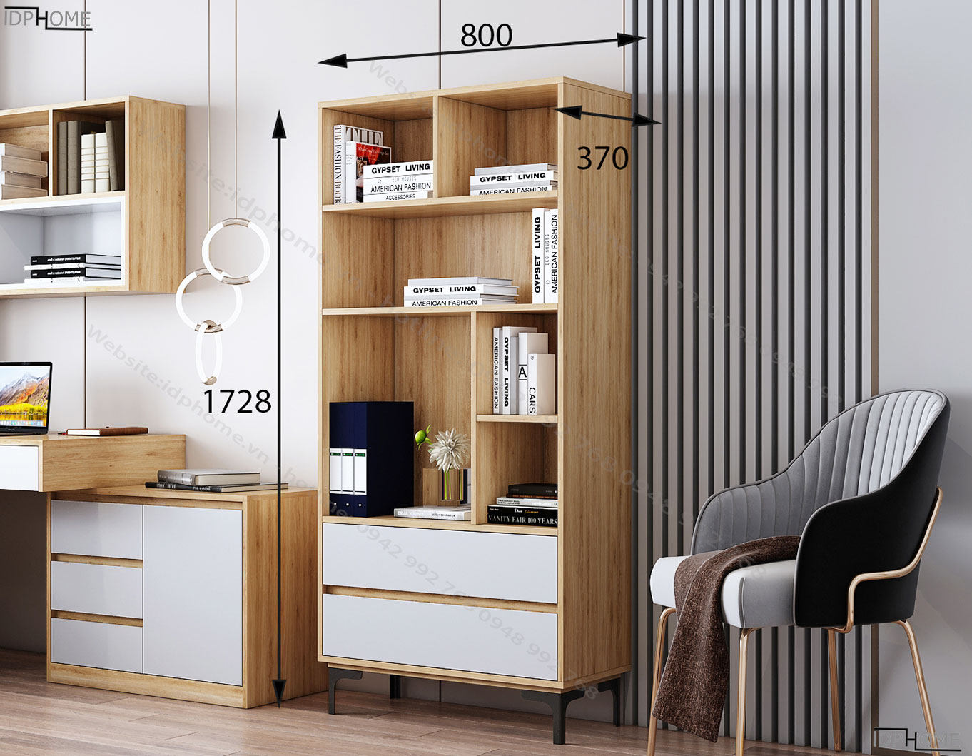 Kích thước tủ đựng sách cho bé TS6805