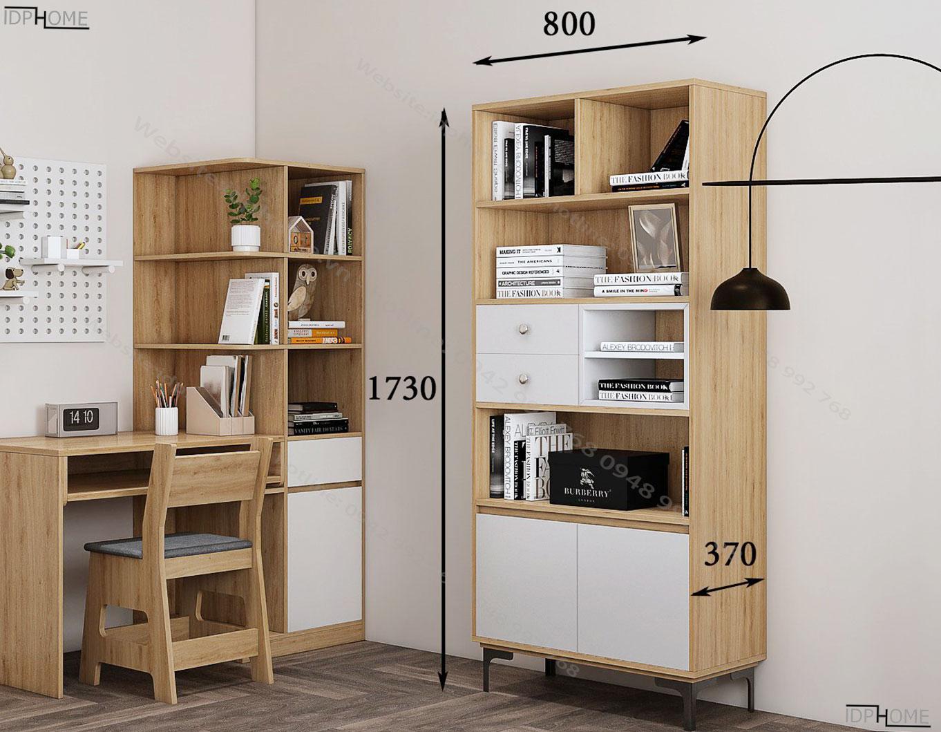 Kích thước tủ sách đứng TS6806