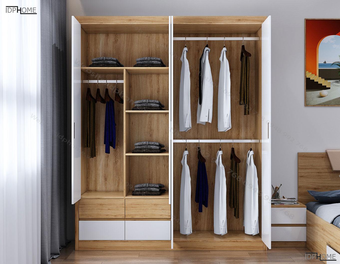Tủ quần áo 4 buồng sức chứa lớn TA6808