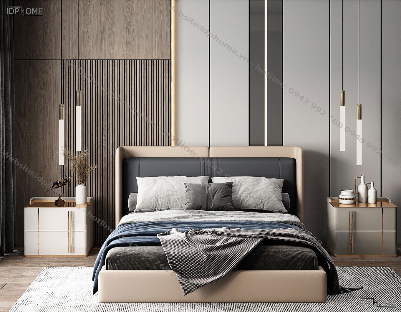 Giường ngủ bọc da hiện đại GD6820