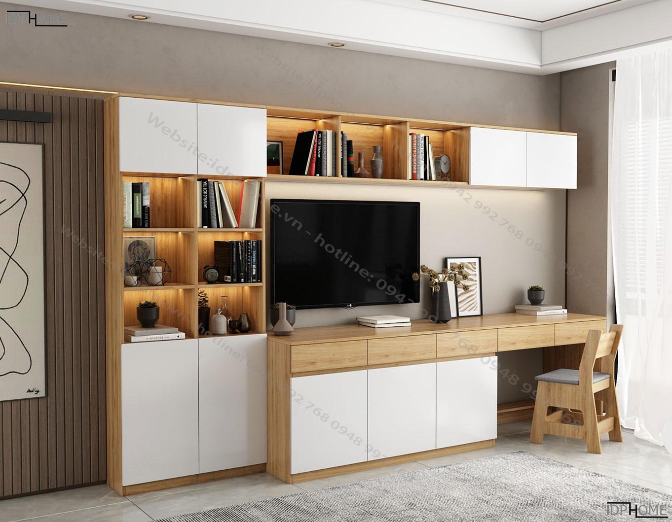 Kệ tivi kết hợp tủ trang trí KT6816