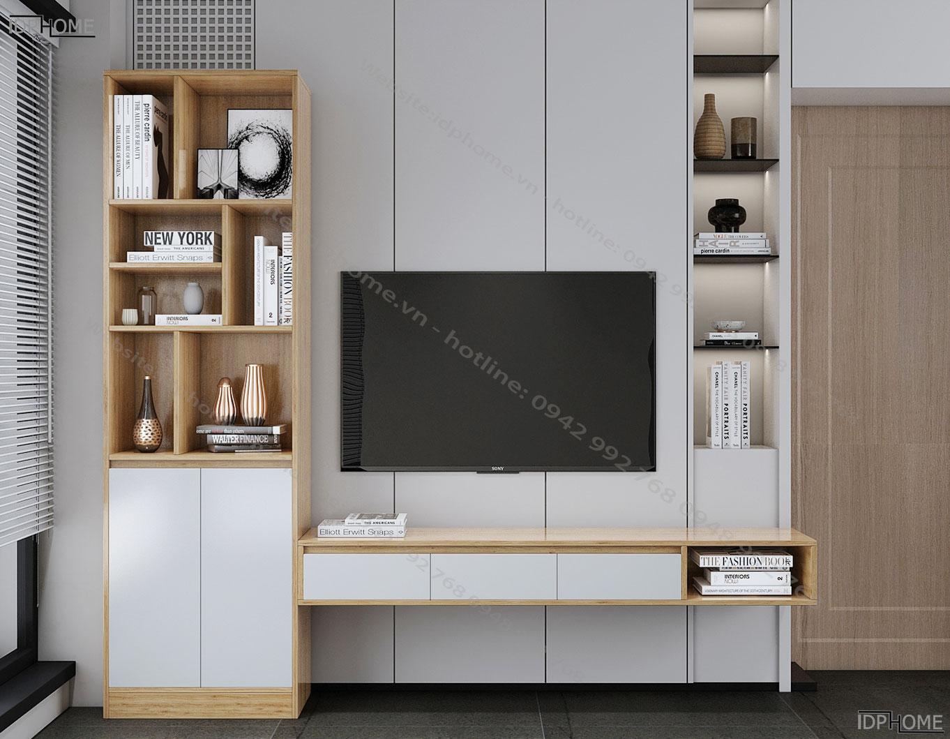 Kệ tivi treo tường kết hợp tủ trang trí KT6814