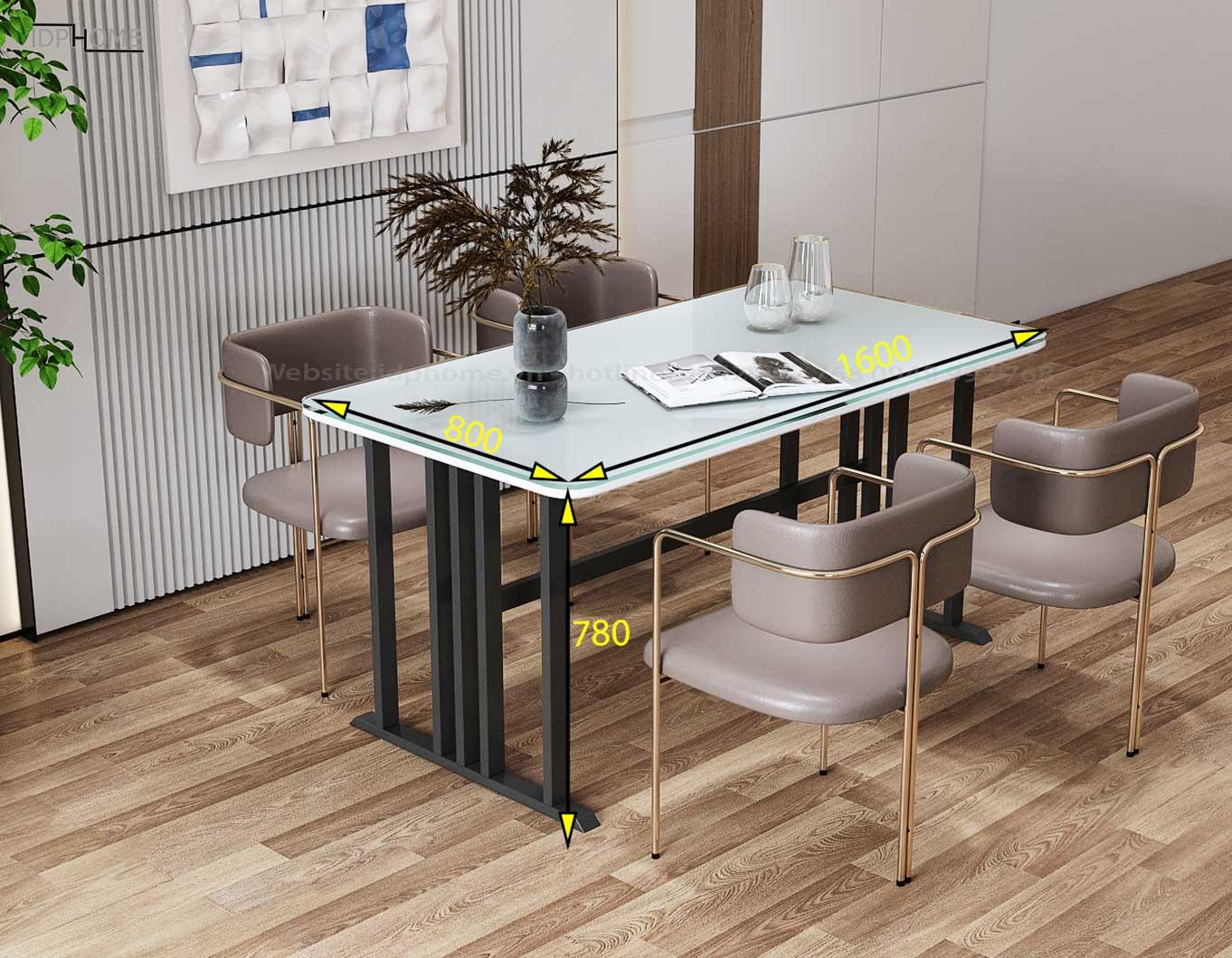 Kích thước mẫu bàn ghế ăn đẹp BA6802