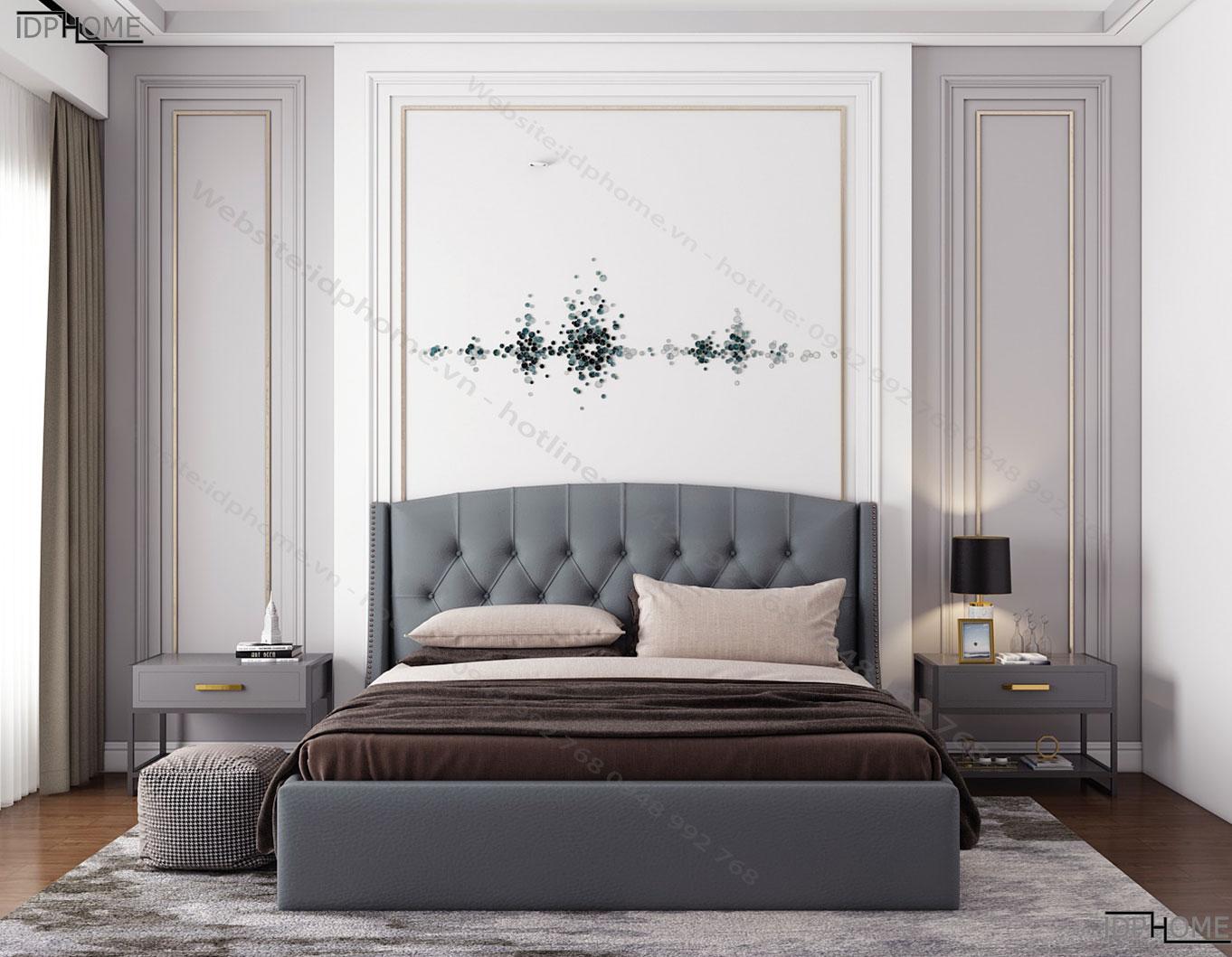 Mẫu giường ngủ bọc da đẹp GD6819