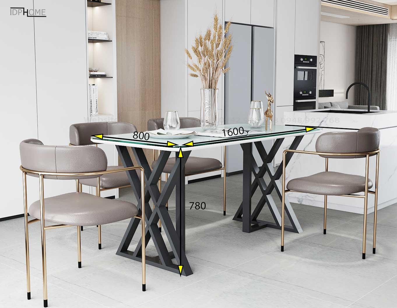 Kích thước bàn ghế ăn chân sắt đẹp BA6804