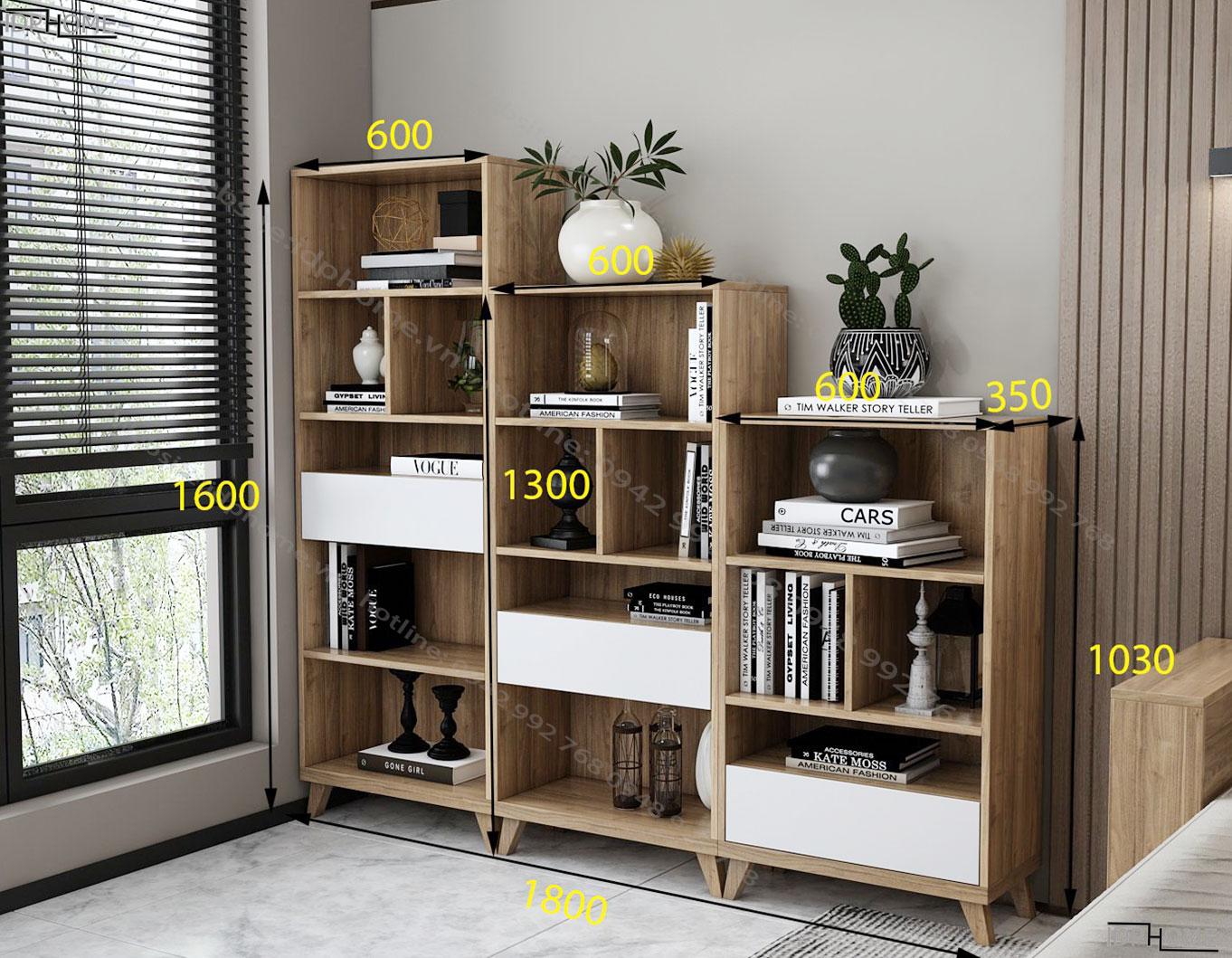 Kích thước tủ giá sách nhỏ cho bé TS6803